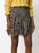"$385 NWT ISABEL MARANT ""Jockey"" Ruffle Mini Skirt SZ 38 Silk Khaki Ruffle Tier"