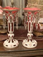 2 STUNNING BOHEMIAN CUT TO CRANBERRY GLASS MANTLE LUSTERS CANDLE HOLDERS PRISMS