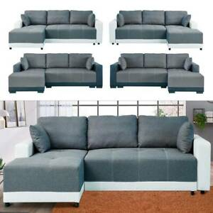 X-Large Luxury Faux Leather & Fabric Storage Sofabed Sofa bed Settee  UK