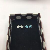 NIB 925 Sterling Silver Hypoallergenic Crystal & Aqua Blue Stud Earrings 2 Pair