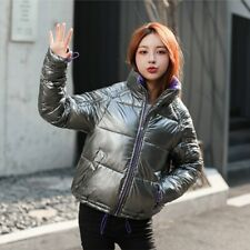 Women Puffer Coat Padded Down Cotton Jacket Metallic Shiny Winter Warm Ski