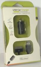USB Car Charger W/ Mini & Micro & LED Light USB Cables Travel For Ipod & Iphone
