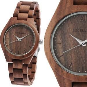 Damenuhr Quarz Armbanduhr Holzuhr Walnussholz Gliederarmband 180/157 Wood