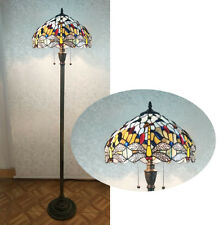 Beautiful Dragonfly Design with Clear Jewels, Glass Tiffany Style Floor Lamp 16'