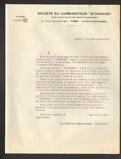 """PARIS (II°) Société du CARBURATEUR pour AUTOMOBILE & AVIATION """"STANDARD"""" en 1917"""