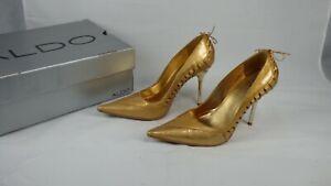ALDO Antique Gold Celestiel-82 Unusual Lace Detail Court Shoes Pumps UK 3 EU 36