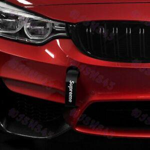 Car Tow Strap Black JDM SUPREME Racing Drift Rally Belt Towing Hook Universal x1
