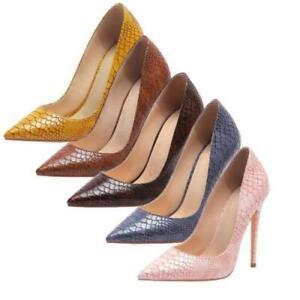 Women Fashion Pump Slip On Shoes Pointy Toe Snakeskin Print High Heels Nightclub