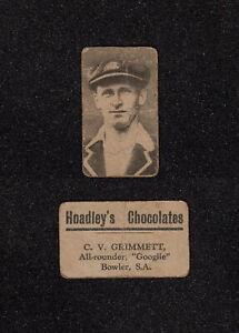 s3370) RARE HOADLEY'S CHOCOLATES 1928 CRICKETERS C.V. GRIMMETT SOUTH AUSTRALIA