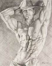 "9"" x 12"" drawing print nude male cowboy with arms up gay interest"
