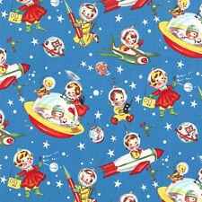 Retro Rocket Rascals Vintage Spaceships Michael Miller Cotton Fabric- Adorable!