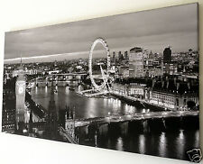 LONDON EYE SKYLINE CANVAS WALL ART PICTURE 18 X 32 INCH FRAMED PRINT