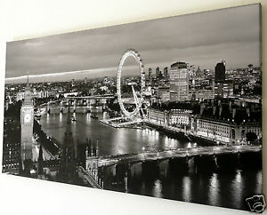LONDON EYE SKYLINE CANVAS PRINT WALL ART PICTURE 18 X 32 INCH