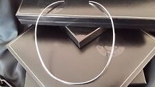 """Fine Ladies Real 925 Sterling Silver Plain Choker Collar Necklace 16"""""""