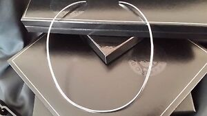 """Real 925 Sterling Silver Plain Choker Collar Necklace 16"""" 2 MM"""