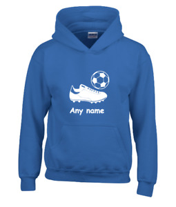 Boys FOOTBALL Hoodie PERSONALISED with Team Football Ball Boots Shirt Kit Gift