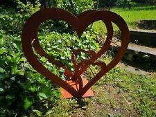 Edelrost Herz für Holzsammler Brennholzsammler Regal aus Edelrost  neu klein