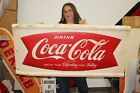 "Large Vintage 1962 Coca Cola Fishtail Soda Pop 50"" Embossed Metal Sign"