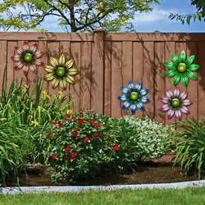 Metal Flower Wall Art Sculpture Outdoor Hanging Ornament Garden Home Decor UK