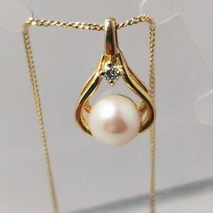 9 Carat Gold 6mm Pearl Diamond Pendant