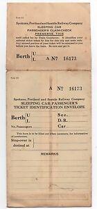 1920s Spokane Portland & Seattle Railway  Sleeping Car Passenger's Envelope