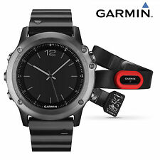 Garmin Fenix 3 Sapphire Multisport GPS Swim Bike Metal Band Watch + Red HRM-RUN