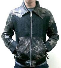 Mens Leather Denim Bomber Jacket by H&D Long Sleeve Black Medium
