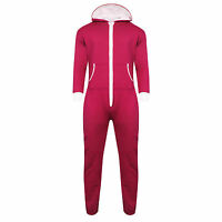 UNISEX MENS WOMENS HOODED ZIP ONE PIECE ONEZIE PLAYSUIT PLAIN ALL IN 1 JUMPSUIT