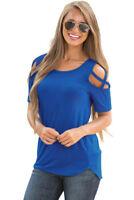 Women Casual Cut Out Short Sleeve Cold Shoulder Criss Cross T-Shirt Top Blouse