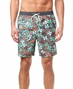 Jack O'Neill Mens Swimwear Gray Size 2XL Floral Print Trunk Shorts $59 #310