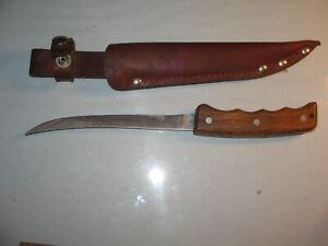 Vintage Schrade GF65 USA Fillet Knife w/Leather Sheath Fishing