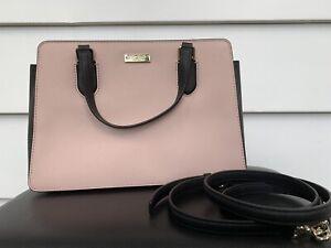 Kate Spade Laurel Way Reese Leather Handbag Warm Vellum/Black WKRU5393 $359 NEW