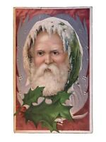 Rare~Full Face ~ SANTA CLAUS~with Holly~Antique Embossed Christmas Postcard-s621