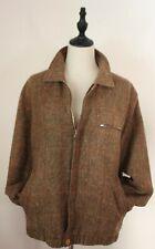 VINTAGE 70'S ~  Mens Brown Red Check Tweed Wool Bomber Harrington Jacket 40 M