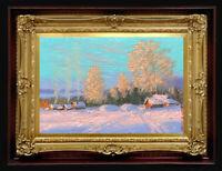 "ORIGINAL Oil Painting Handmade Arseni ~ WINTER 6"" X 4"" NO FRAME Art 4 REMBRANDT"