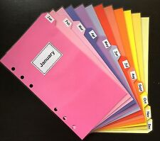 Filofax Personal Planner - Bright Rainbow Colours Dividers x12 - Fully Laminated