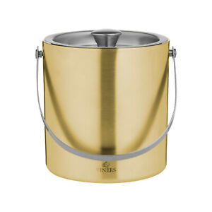 Viners Double Wall Gold Ice Bucket. 1.5 Litre Capacity. Ideal for Home Bar.