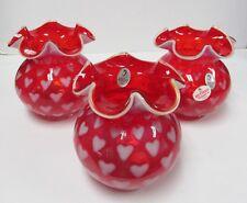 Fenton 4962U7 * 4-1/2'' Heart Optic Vase in Ruby Opalescent * Brand New in Box