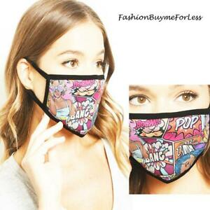 Adult CARTOON Reusable Double Layers Cotton UNISEX Protective Cover Face Mask