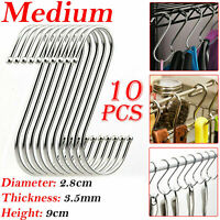 10Pcs S Hooks Stainless Steel Kitchen Meat Pan Utensil Clothes Hanger Hanging UK