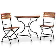 vidaXL 3 Piece Solid Acacia Wood Bistro Set Outdoor Garden Table Folding Chair