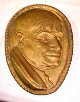 "VINTAGE 1920S 30S CARNIVAL / FAIR PRIZE 10"" CHALKWARE PLAQUE WILL ROGERS"