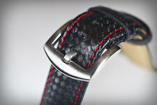 22mm De Cuero Genuino (fibra de carbono, con estampado) Correa Negra Con Rojo Costura