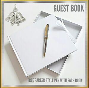 Wedding Guest Book. Plain blank  DIY christenings Book + FREE CHROME SILVER PEN