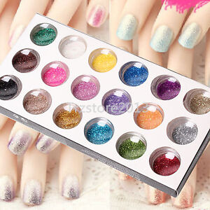 18 Mix Colors Glitter Powder for Nail Art UV Gels Acrylic Tips Decoration DIY