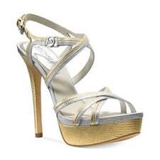 NWB Michael KORS Cicely Logo Platform Sandals Heels Silver Golg 9 US MSRP $175