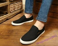 Hot Sale Men Shoes Canvas Casual Slip On Low Top New Fashion Sneakers Size Black