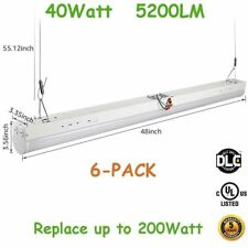 6-Pack 40W Led Linear Strip Commercial Shop Light, Indoor Pendant Tubes Light