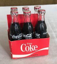Mini Enjoy Coke Coca Cola 6 Pack Paper Carton Small Glass Bottles Vintage