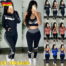 Damen Trainingsanzug Kapuzenjacke+BH+Hosen Jogginganzug Fitnessanzug Sportanzug